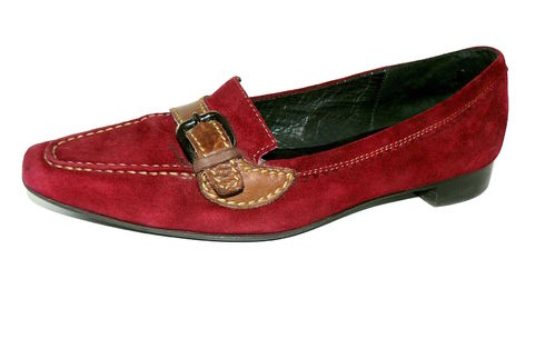 DONNA CAROLINA Slipper Halbschuhe Damen Wildleder weinrot 36