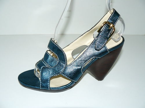 MAX STUDIO Slingbacks Pumps Leder metallic blau 38