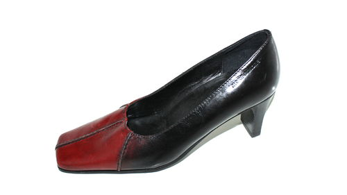 MORE & MORE Business Pumps Damen Leder rot schwarz 36