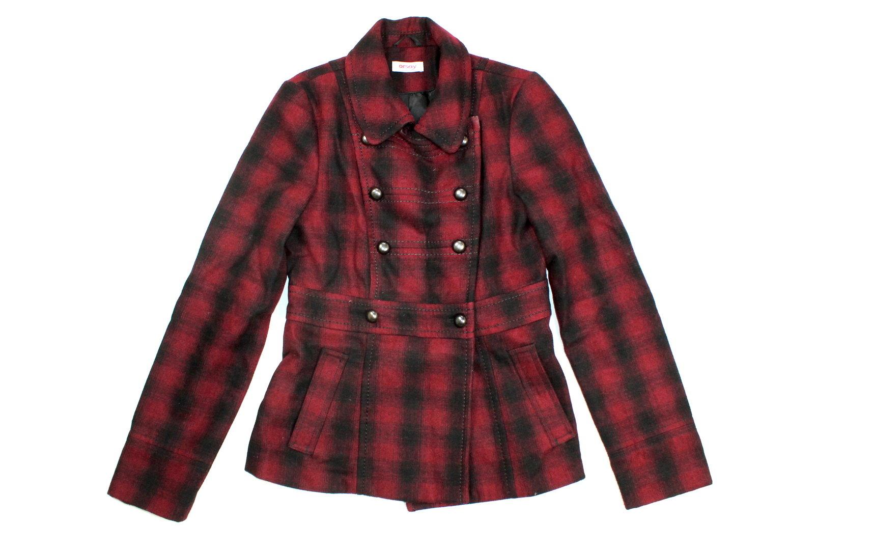 big sale 692d0 10102 ORSAY Woll Jacke Kurz Mantel Winter Damen kariert rot 36