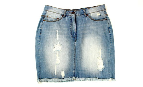 ULLA POPKEN Jeans Rock Denim Blue Damen destroyd Fransen 42