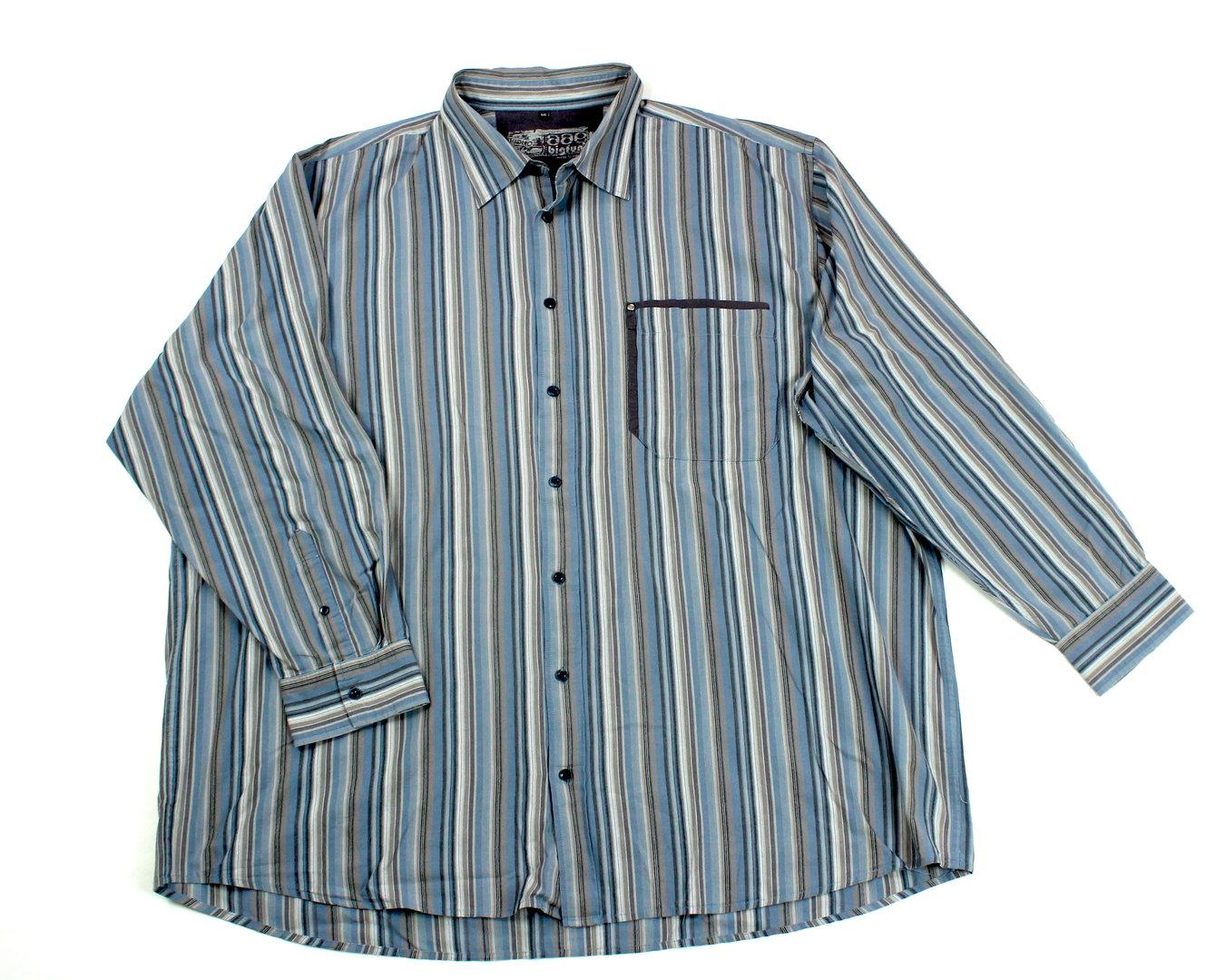 finest selection f1ff5 c488b BIG FUN Freizeit Hemd gestreift Übergröße bleu Langarm 4XL