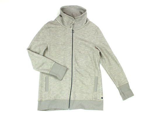 CECIL Long Sweat Jacke Stehkragen Strick grau XL