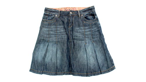 STREET ONE Jeans Falten Rock Denim blau Nieten 40