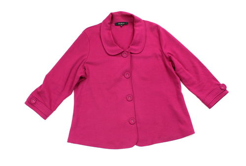 ONE TOUCH Sweat Jacke Blazer Bubikragen fuchsia 46