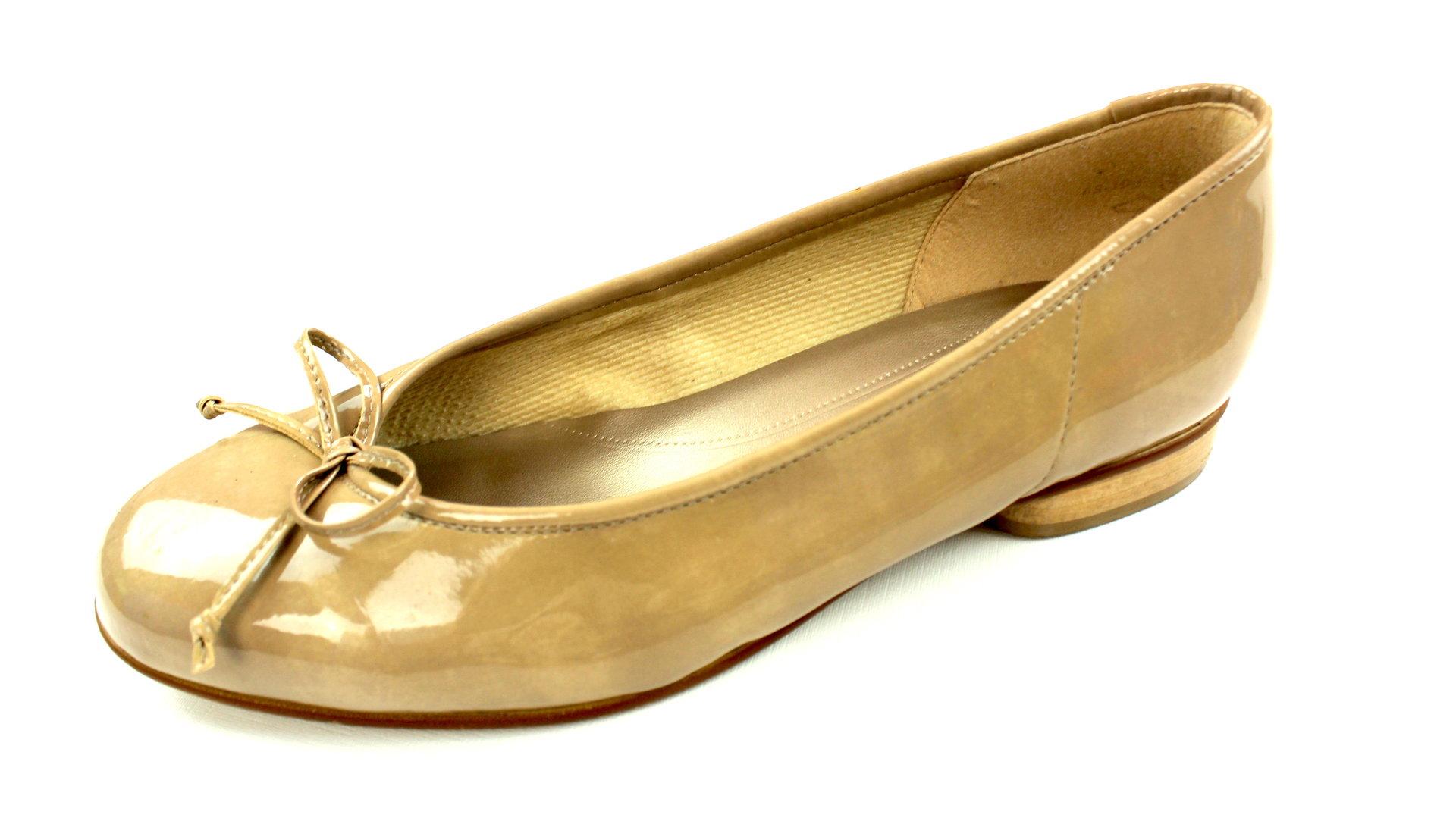 buy online 4d31e 54937 GABOR Lack Ballerinas Slipper Hlab Schuhe beige Schleife 38