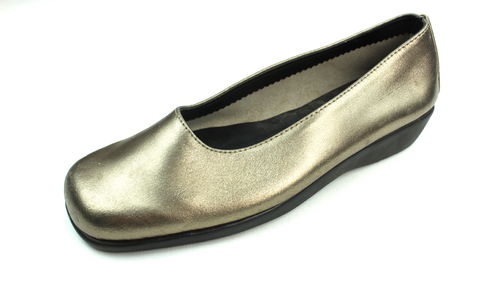 HUSH PUPPIES Slipper Ballerinas Halbschuhe Leder gold 37,5
