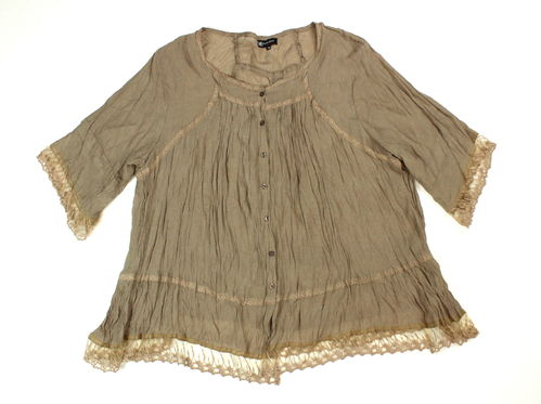 NANA BELLE Spitzen Bluse Tunika Crash Optik beige 3/4 Arm 50