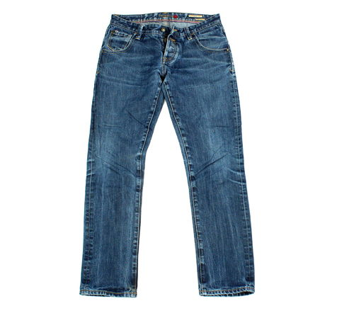 TRIBECA Boy Friend Jeans Hose Knöpfe Denim Blue W29