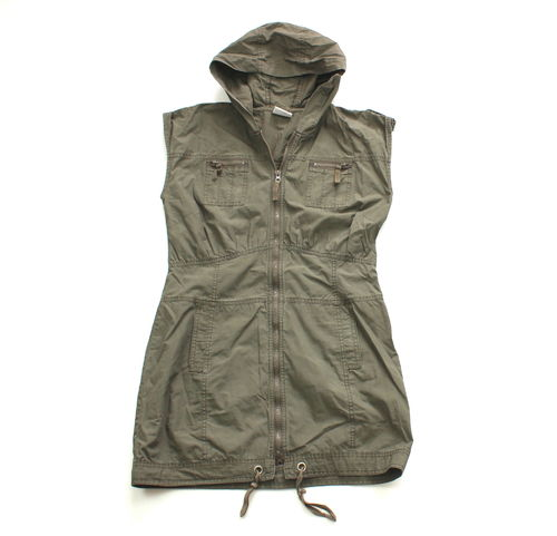 CARGO Kapuzen Kleid mini Damen khaki Zipper 38
