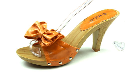 VICES Holz Pantoletten High Heels Damen orange 37