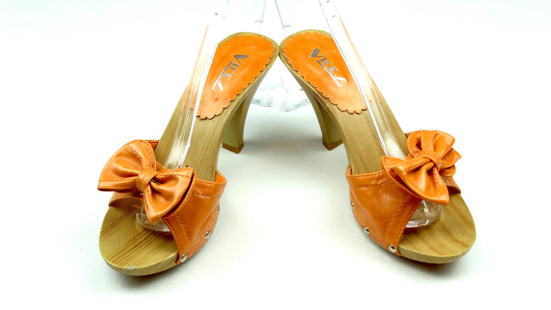VICES Holz Pantoletten High Heels Damen orange 37