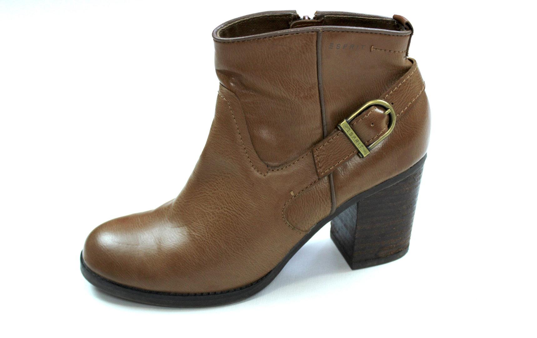 Boots Braun Damen Leder 39 Esprit Stiefeletten O0wnP8k