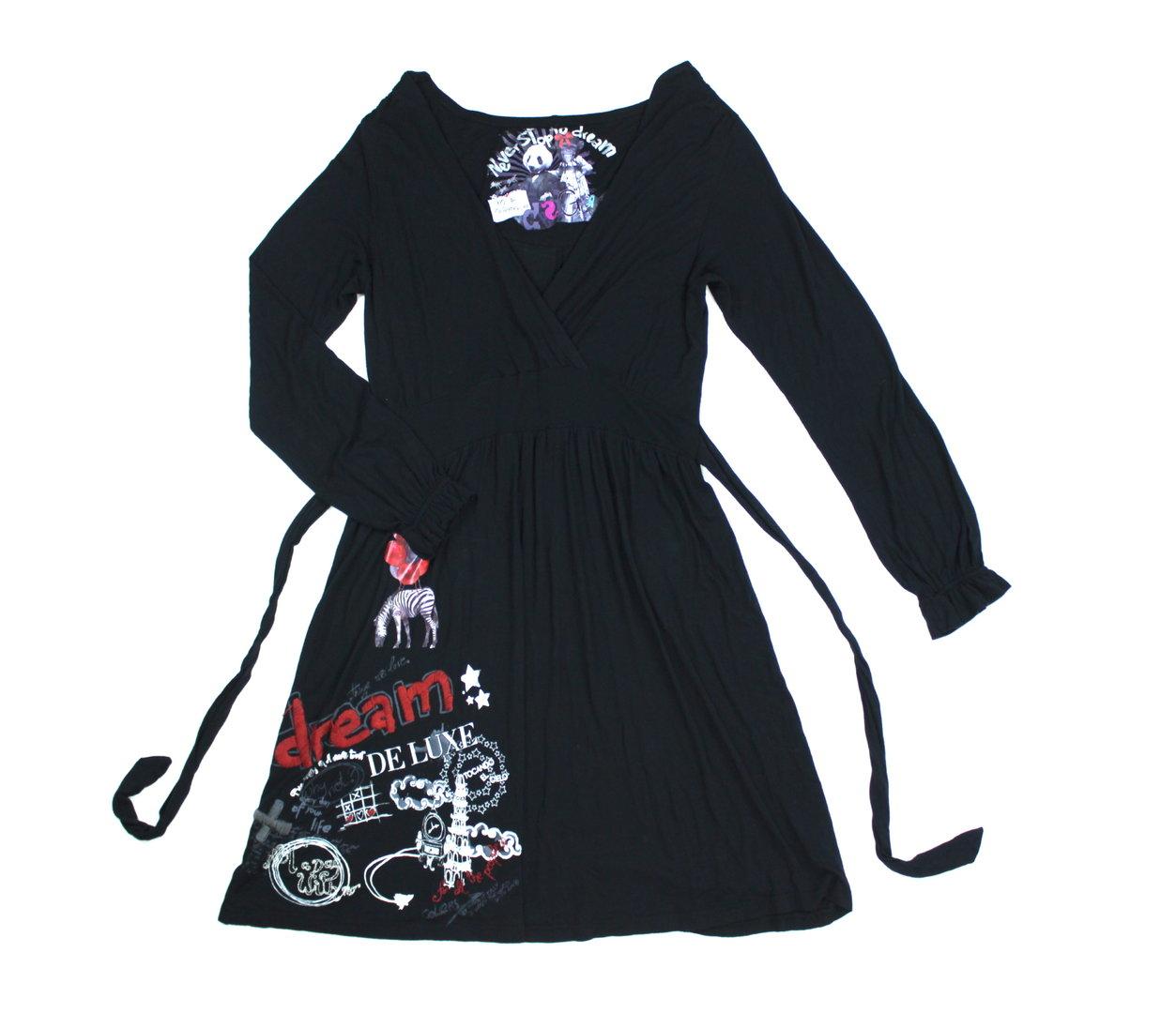 desigual shirt kleid damen a-linie tailliert schwarz xl