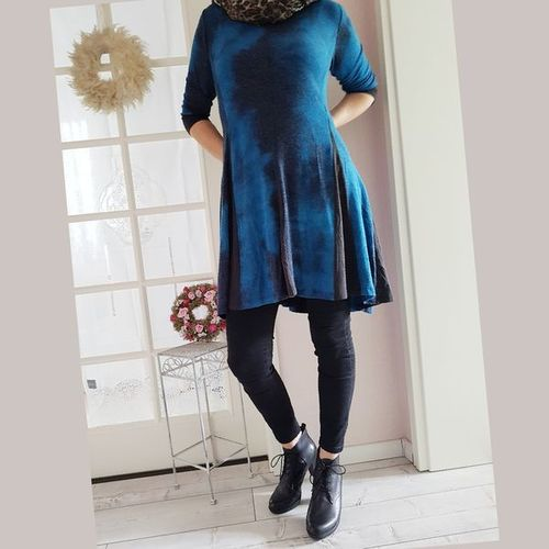 FASHION APOLDA Winter Mini Kleid Damen 3/4 Arm blau M