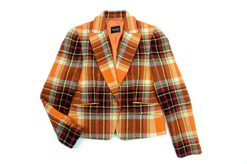 TUZZI Woll Blazer Winter Damen kariert orange 38