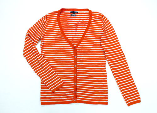 TOMMY HILFIGER Strickjacke gestreift Damen orange S