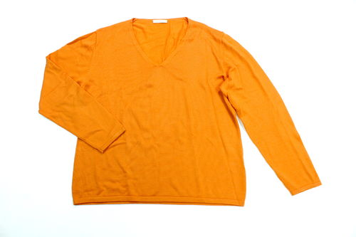 BRAX Strickpullover Damen Langarm orange Wolle V-Ausschnitt 46