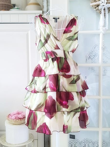 H M Mini Ruschen Kleid Empire Blumen A Linie 38 Wolkengang De