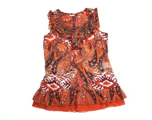 STREET ONE Pailletten Tunika Longbluse Rüschen orange 42