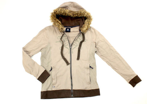 GAASTRA Winter Sweat Jacke Damen beige Fellkapuze XL