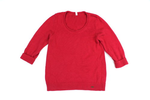 TOM TAILOR Strick Pullover rot Damen 3/4 Arm Umschlag L