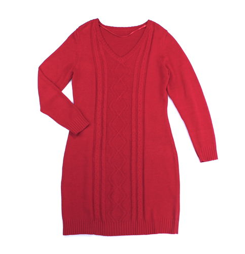 Strick Kleid Zopfmuster Winter knielang rot 42 44