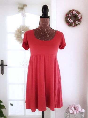 BUFFALO Mini Kleid Empire A-Linie Kurzarm Stretch rot 42