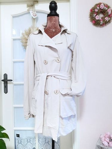 MADE IN ITALY Long Sweat Mantel Jacke Damen Gürtel beige L