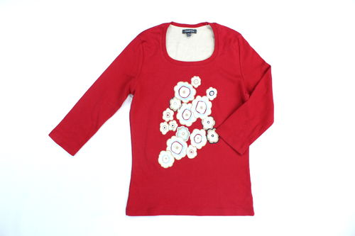 STREET ONE Blumen Shirt Damen 3/4 Arm rot 36
