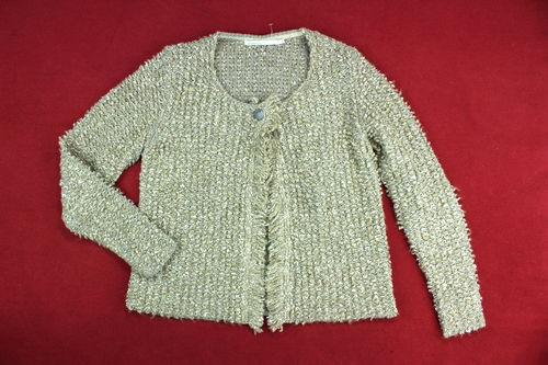 PASSPORT Boucle Strickjacke Cardigan Damen Fransen beige S