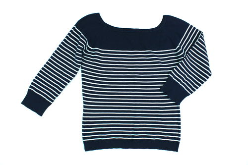 COMMA Strick Pullover Damen Marine Sailor Sommer blau S